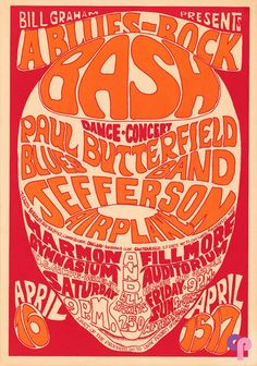 Classic Poster - Paul Butterfield Blues Band at Fillmore Auditorium 4/15 & 17/66 Harmon Gymnasium (UC Berkely) 4/16/66 by Wes Wilson