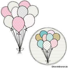 Luftballons Doodle Stickdateien Set
