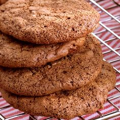 Chewy Chocolate Cookies - These freeze exceptionally well-layer them in a freezer-safe container between sheets of wax paper; thaw 15 minutes at room temperature before serving. Old WW: 1 pt, PTS+: 2 pts Chewy Chocolate Cookies, Chocolate Cookie Recipes, Chocolate Desserts, Chocolate Chips, White Chocolate, Diabetic Recipes, Snack Recipes, Dessert Recipes, Diabetic Desserts