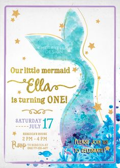 Isn't this lovely! This mermaid invitation is perfect for your girls party. Next to the pool or at your home it could bring more fun into your mermaid party!