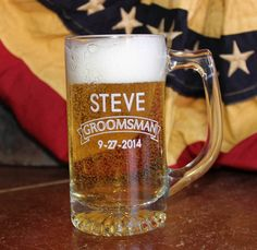 Personalized Custom Glass Sports Beer Mug by thepersonalizedstore #Wedding #Groomsmen #Barware