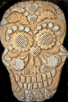 Card low-relief sculpture inspired by sugar skulls and the work of Thaneeya McArdle. These can be painted, collaged or left plain.