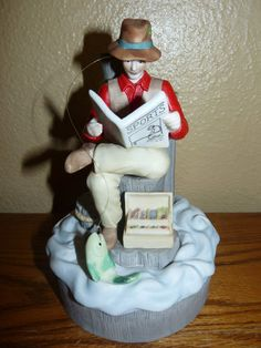 Vintate 1989 Schmid Porcelain Music Box Fisherman Figurine Table Display