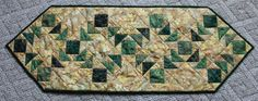 Dark Green & Tan Crazy Eight Table Runner by PatchesNPiecesQuilts