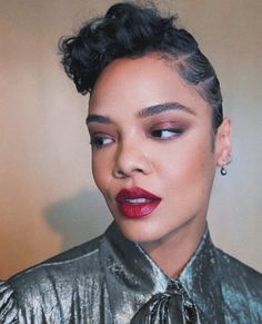 dailytessa: Tessa Thompson's MIB press tour looks by Alex Babsky Haircuts For Curly Hair, Hairstyles Haircuts, Summer Hairstyles, Curly Hair Styles, Cool Hairstyles, Natural Hair Styles, Tessa Thompson Westworld, Half Cornrows, Flat Twist Updo