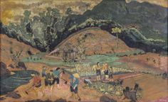 Le Quoc Loc  Vietnamese (1918 - 1987)  figures working in a field  lacquer on wood  signed and dated 1958  29 x 47 in. (73.7 x 119.4 cm)  Estimate $ 30,000-40,000