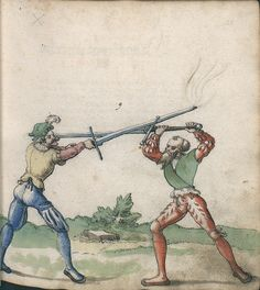A Zwerchau (cross strike) performed in Ms. German. Quart. 2020. Folio 22r
