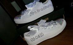 Personalised NEW Bling Mono Converse Size 4 5 6 7 Wedding Bridal Shoes   eBay