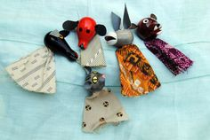 Vintage Toy - 5 Animal Finger Puppets - Wonderful Imaginative Play- 1980's. $14.50, via Etsy.