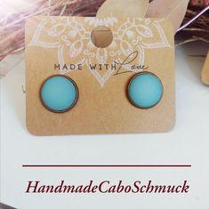 12mm Cabochon Ohrringe Polaris Matt hellblau Hänger oder Stecker, Edelstahl oder Bronze
