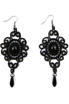 victorian black lace earrings <3