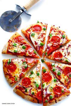 Whole Wheat Pizza Dough Recipe | gimmesomeoven.com
