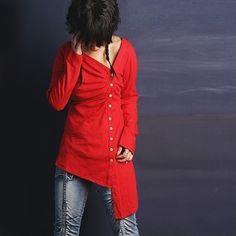 Handmade linen asymmetrical tunic.