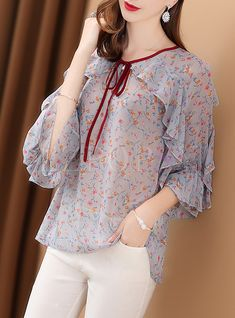 Shop for high quality Sweet Floral Print Lacing Blouse online at cheap prices and discover fashion at Ezpopsy.com