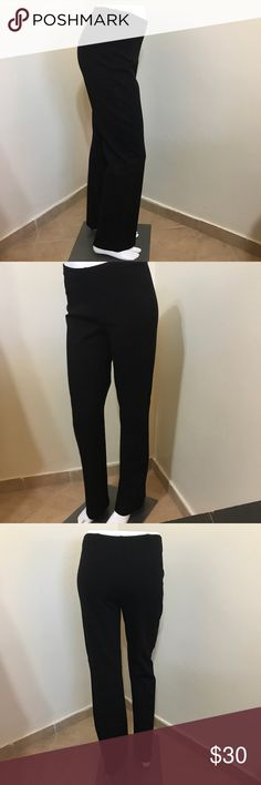 Eileen Fisher Wear To Work Black Knit Pants XS 0 2 Label-Eileen Fisher . Style-Black Flat Front Knit Pants. Almost like a Yoga Pant, Straight Full Leg, Super Comfy! A classic wear with everything pants.  Size-XS Shown on my 0 Mannequin. Fits a 00, 0, 2  Measurements- Waist- 25 Hip-34 Rise- 8 Inseam-28 Leg Opening-8 inches  Color- Inky Black (no fade-May have been lightened to show detail) Fabric-Viscose/Nylon/Spandex Blend. Condition-NWOT Origin-China of Italian made fabric Eileen Fisher…