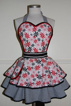 ***NEW*** Red, White, and Black Pinup Full Retro 50s Circle Skirt Apron by CRACKERJACK COUNTY. $45.00, via Etsy.