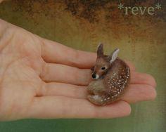 Baby Fawn Handmade Miniature Sculpture by ReveMiniatures.deviantart.com on @deviantART
