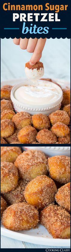 Auntie Anne's Copycat Cinnamon Sugar Pretzel Bites with Cream Cheese Dip #movienight