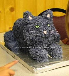 Homemade Cat Birthday Cake: My daughter wanted a Homemade Cat Birthday Cake for her birthday and of course I wanted to do something different than the usual cat pan cake. I followed