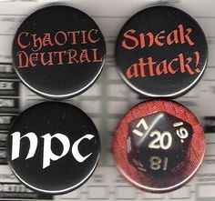 Geeky Dungeons and Dragons 1 inch buttons set of 4. $4.50, via Etsy.