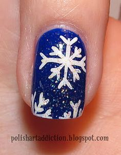 snowflake nails #indigo #MagicalHoliday