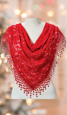 Red Lace Droplets Scarf | The Paragon