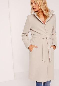 Missguided - Belted Stand Up Collar Coat Nude