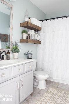 Like He Paint Color  Modern Farmhouse Bathroom Makeover, Bathroom Ideas,  Home Decor, Wall Decor