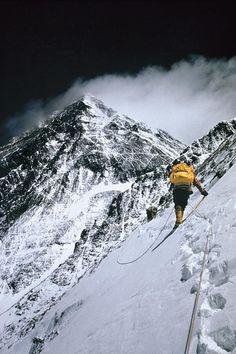 ✭ Climbers, 25,000 feet up, push on toward the summit of Mount Everest