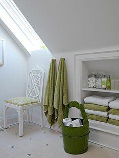 skylight; shelves in knee-wall; towel hooks; chair instead of stool; basket w/ toilet tissue supplies  --  Bathroom | Sarah Richardson Design