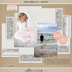 Photo Journal No. 1 Photo Templates) by Sahlin Studio - Perfect for Project Life albums! Photo Album Scrapbooking, Pocket Scrapbooking, Digital Scrapbooking, Project Life Album, Journal Template, Photo Journal, Scrapbook Designs, Photoshop Elements, Photo Look