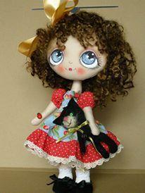 Doll and kitty Fabric Dolls, Paper Dolls, Raggy Dolls, Kokeshi Dolls, Doll Parts, Doll Hair, Soft Dolls, Diy Doll, Cute Dolls