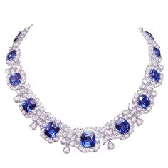 1stdibs - Magnificent+Platinum+Diamond+Sapphire+Necklace explore items from 1,700+ global dealers at 1stdibs.com