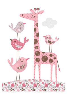 Giraffe and Birds. Bubble Gum Years - ETSY