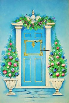Vintage Christmas card.  I'm kind of liking the gold trim on the door.
