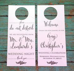 Wedding Do Not Disturb Door Hanger Set of 10 Wedding by Printrends