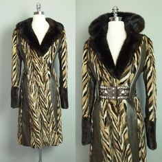 Vtg Tri Color Mink Leather Chevron Princess Coat Dress Jacket Boho 70s Fox S | eBay
