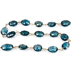 London Blue Topaz Bead Faceted Nugget with Chain in Vermeil