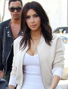 Kim Kardashian: March 2014. Layered shaggy hair cut.