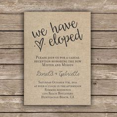 Printable elopement reception invitation by MellieBellieBoutique... just incase elopement sounds better than planning a wedding