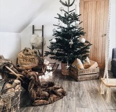 A real Christmas tree a bargain from x budget decor with vintage finds Scandi Christmas, Real Christmas Tree, Blue Interiors, Decorating On A Budget, Dried Flowers, Interior Inspiration, Ladder Decor, Home Accessories, Online Business