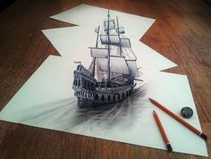 Self-taught Dutch pencil artist Ramon Bruin has taken art to new depths. His drawings bring new life to what would normally be just a piece of paper. The pencil drawings pop out in an optical illusion and play with viewers' eyes. 3d Pencil Sketches, 3d Sketch, Pencil Art, Ship Sketch, Pencil Sketching, Illusion Drawings, 3d Drawings, Amazing Drawings, Illusion Art