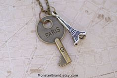 Key to Paris Necklace, Whimsical Travel Jewelry via Etsy