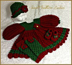 Christmas Dress with Matching Hat Maryjanes by SweetSouthernBabies, $82.50