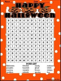 BEST SELLER! { Top 100 On TpT } Halloween Happenings : A Thematic & Activity Packet For Halloween. This unit has 90 pages of games, activities and printables all relating to Halloween. ~Halloween Word & Book List ~ Making Connections ~ Five Senses Printable ~ Halloween Rhymes & Verbs ~ Halloween Word Scramble & Web ~ Writing Activities ~ ABC Order Activity ~ Venn Diagrams ~ Word search & Maze ~ Many Graphic Organizers & Foldables~ Math Ghost-It Games & Color By The Code... $