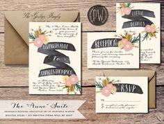 Printable Wedding Invitation Suite Floral wedding invite vintage style, rustic wedding RSVP card DIY digital invitation set Printable Wisdom...