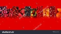 #Cherries, #raspberries, #redcurrants, strawberries, #blackcurrants, #tangerines, orange pieces, #pomegranate seeds and mandarins inside ten #fading #rectangles, all arranged in #zigzag, on red background