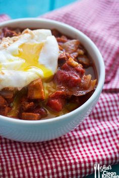 THIS IS WORTH REPINNING! PaleOMG – Paleo Recipes – Spicy Breakfast Stew (with the perfect poached egg)