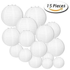 White Round Paper Lanterns Decorative - Doingart White Paper Lanterns Set with Assorted Sizes for Wedding Party Decorations (15 Pack)
