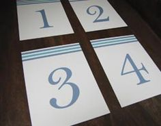 White with blue Wedding Table Numbers